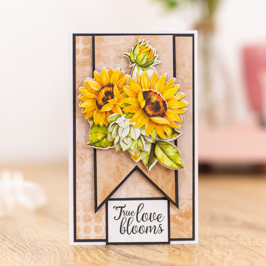 Crafters Companion - Clear Acrylic Stamps - Radiant Sunflowers
