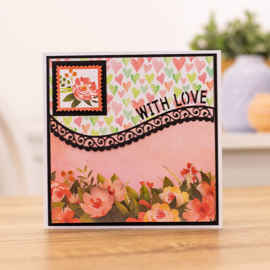 Gemini by Crafters Companion -  Borders & Words Interchangeable Edgeable Die - With Love