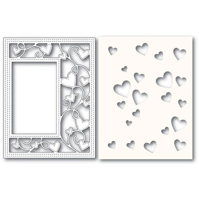 Poppystamps Die - Ribbon Heart Sidekick Frame and Stencil - 2152