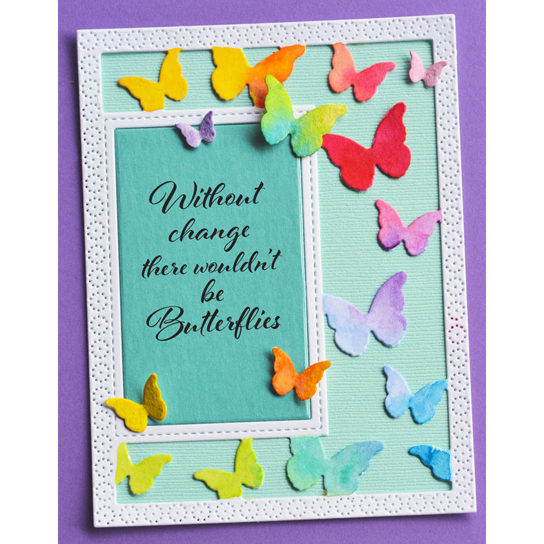 Poppystamps Die - Beautiful Butterflies Sidekick Frame and Stencil - 2221