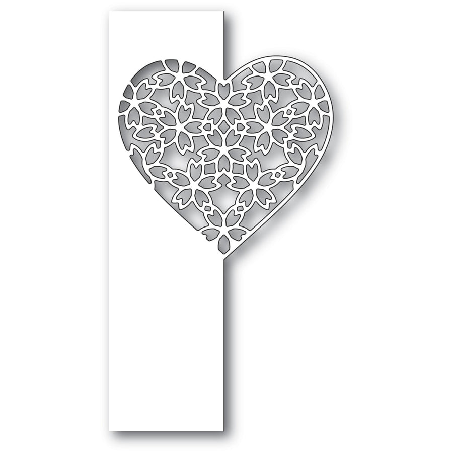 Poppystamps Die - Floral Lace Heart Split Border - 2285