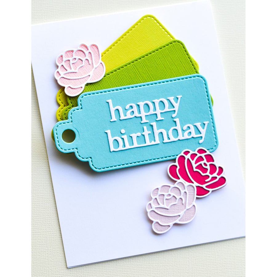Poppystamps Die - Happy Birthday Stitched Tag - 2364