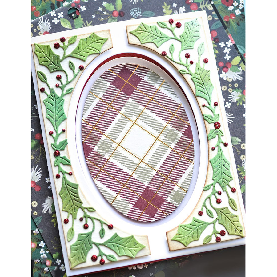 Poppystamps Die - Bright Holly Tall Curve Border - 2395
