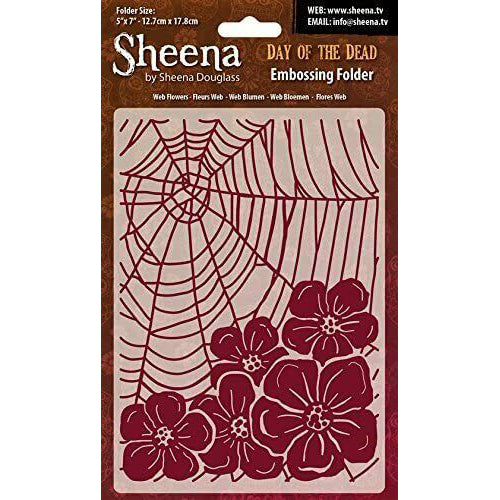 Sheena Douglass Embossing Folder 5x7 - Day Of The Dead - Web Flowers