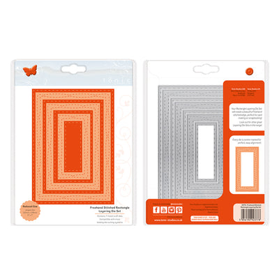 Tonic Studios - Stitched Layering Die Set - Freehand Stitches Rectangles - 2377e