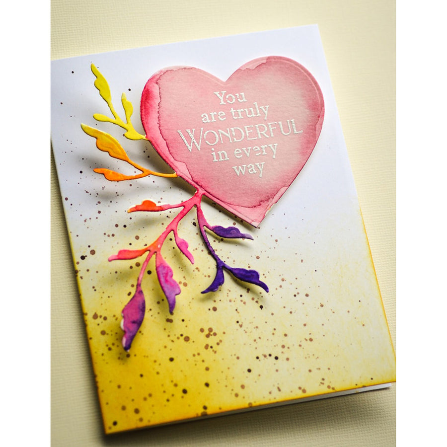 Poppystamps Die - Leaf Flourish Heart - 2458