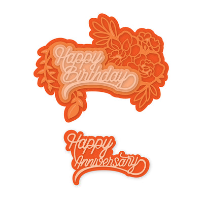 Tonic Studios - Happy Birthday / Anniversary Decorative Duo Sentiment Die Set - 2535e