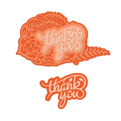 Tonic Studios - Thank You / Thinking of You Decorative Duo Sentiment Die Set - 2536e