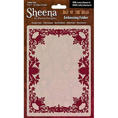 Sheena Douglass Embossing Folder 5x7 - Day Of The Dead - Baroque Frame