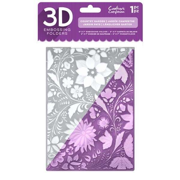 Crafters Companion 5 x 7 3D Embossing Folder - Country Garden