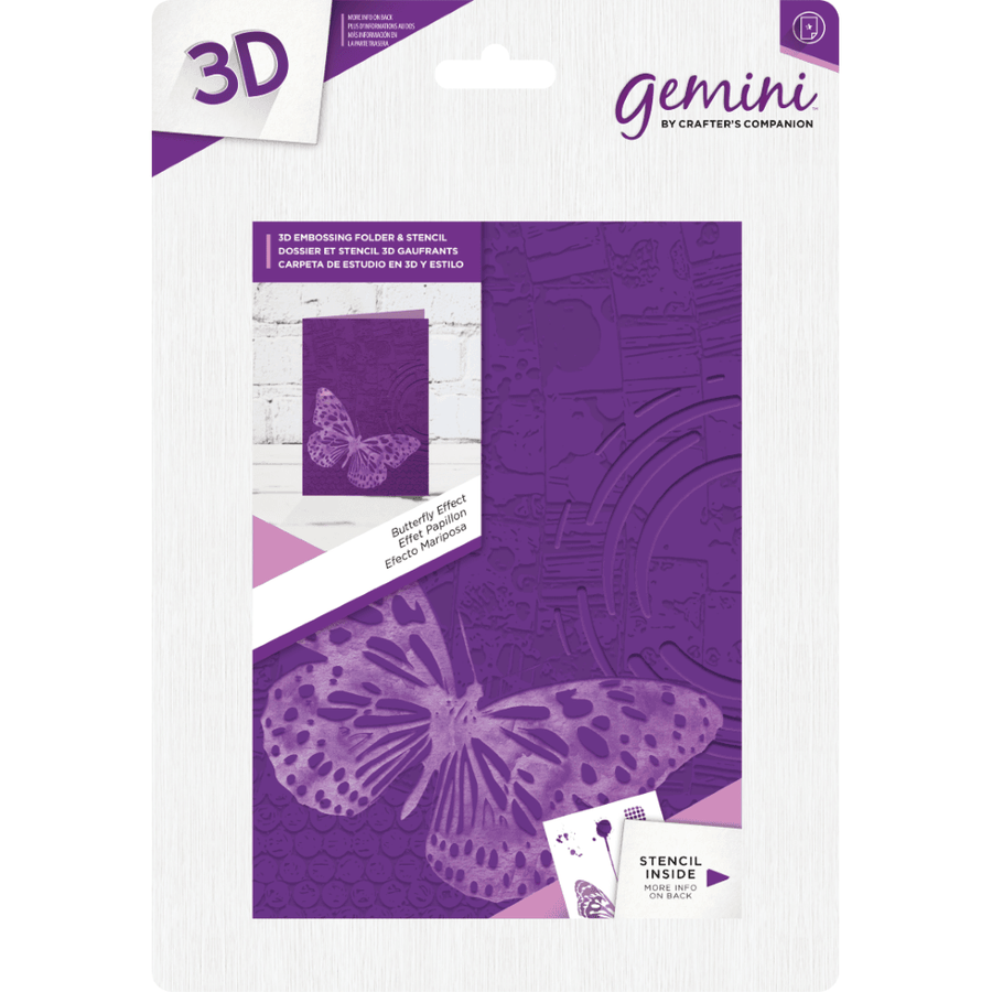 Gemini 3D 5x7 Embossing Folder & Stencil - Butterfly Effect