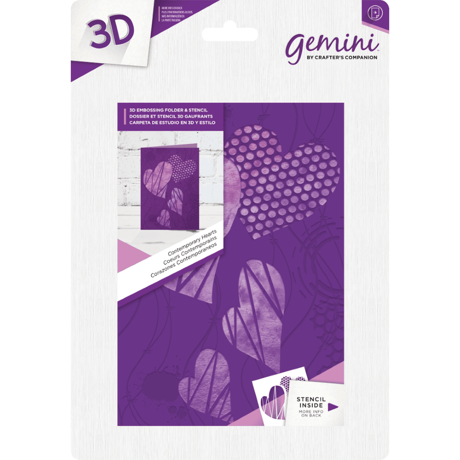 Gemini 3D 5x7 Embossing Folder & Stencil - Contemporary Hearts