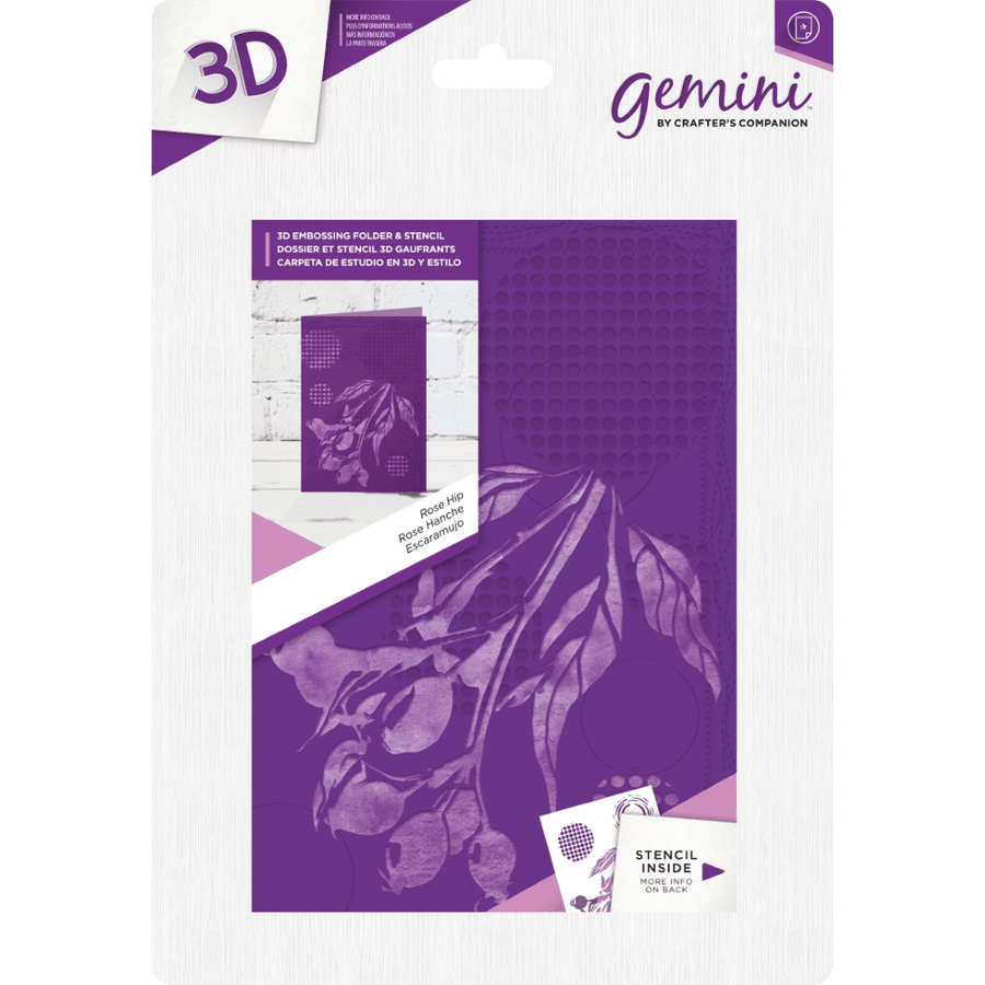 Gemini 3D 5x7 Embossing Folder & Stencil - Rose Hip