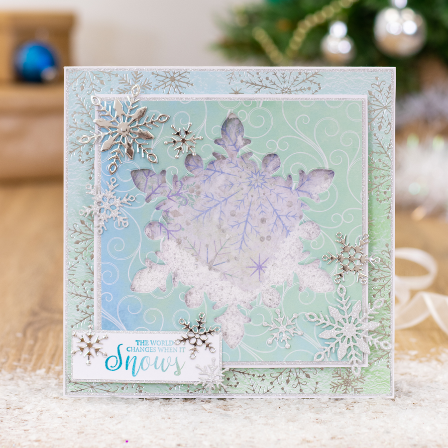 Sara Signature Collection - Glittering Snowflakes - Metal Die - Frosted Window