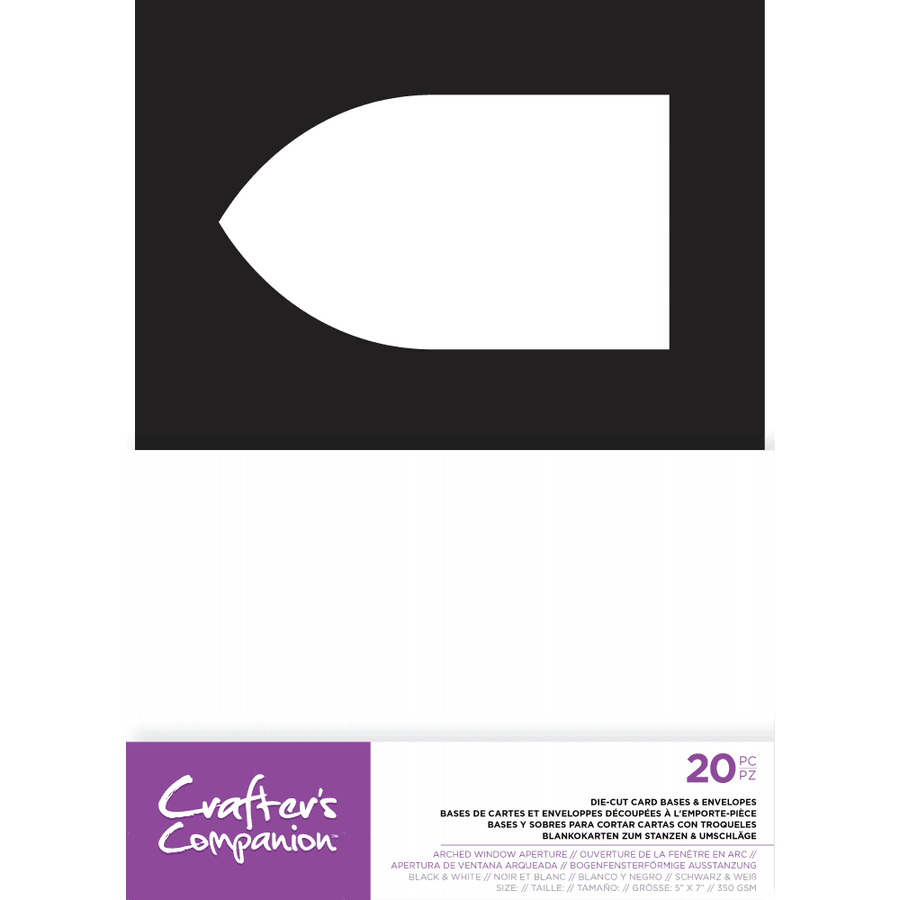 "Crafters Companion - 5"" x 7"" Die-Cut Card Bases & Envelopes - Arched Window Aperture"