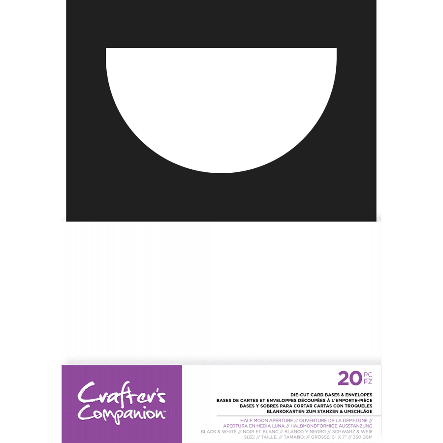 "Crafters Companion - 5"" x 7"" Die-Cut Card Bases & Envelopes - Half Moon Aperture"