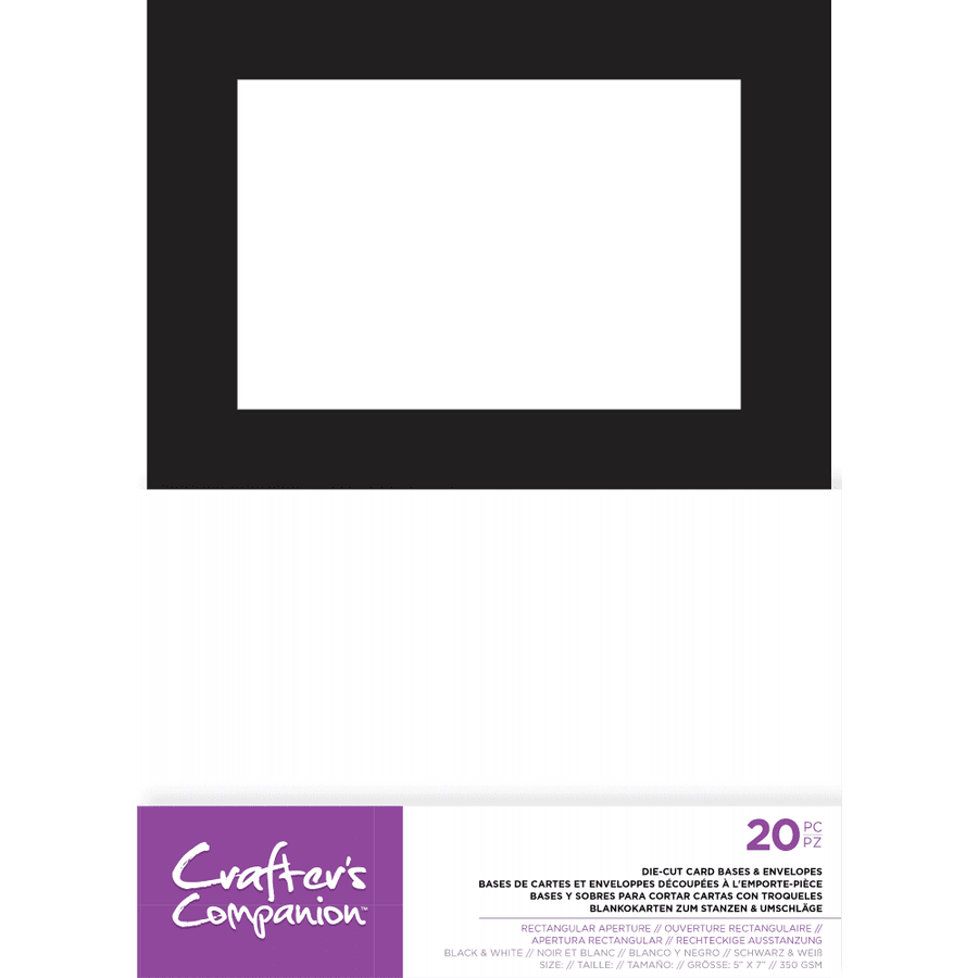 "Crafters Companion - 5"" x 7"" Die-Cut Card Bases & Envelopes - Rectangular Aperture"