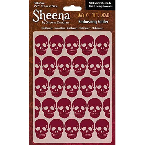 Sheena Douglass Embossing Folder 5x7 - Day Of The Dead - Skullduggery