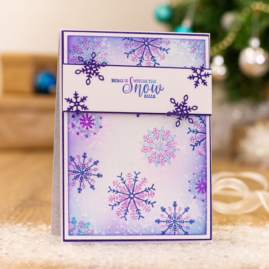 Sara Signature Collection - Glittering Snowflakes - A6 Clear Acrylic Stamp - Chase The Snowflakes