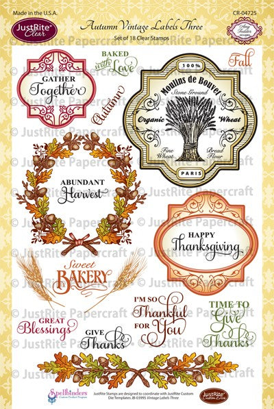 JustRite Stamps - Autumn Vintage Labels Three (CR-04470)