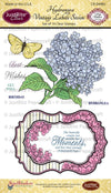 JustRite Stamps Hydrangea Vintage Labels Seven Clear Stamps - CR-04980