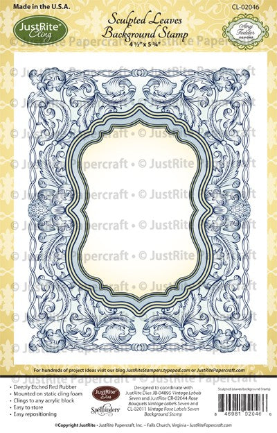 JustRite Cling Stamp - Sculpted Leaves Backgroud Stamp (CL-02046)