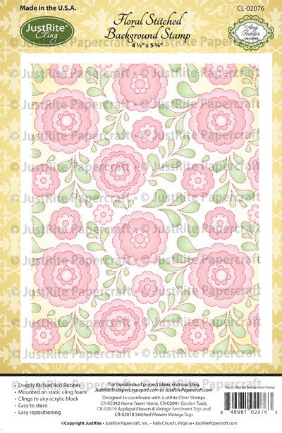 JustRite Stamps - Floral Stitched Background Stamp (CL-02076)