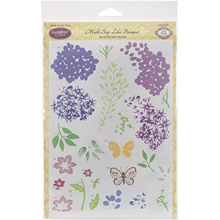 JustRite Stamps -  Multi-Step Lilac Bouquet (CR-02181)