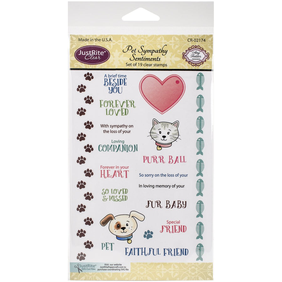 JustRite Cling Stamp - Pet Sympathy Sentiments (CR-02174)