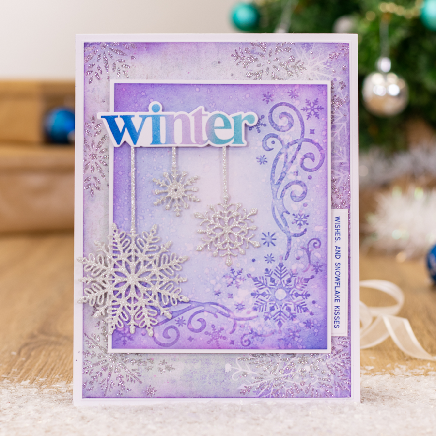 "Sara Signature Collection - Glittering Snowflakes - 5x7"" Embossing Folder - Touch of Winter"