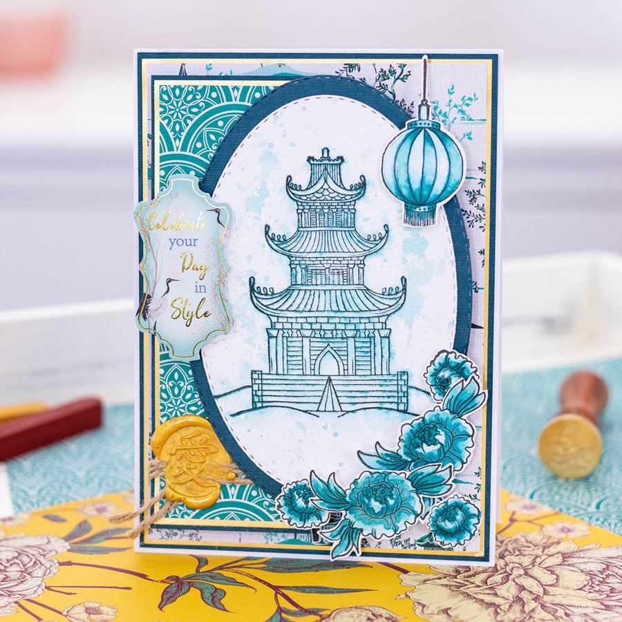 Nature's Garden - Chinoiserie Collection - Photopolymer Stamp - Chinoiserie Temple