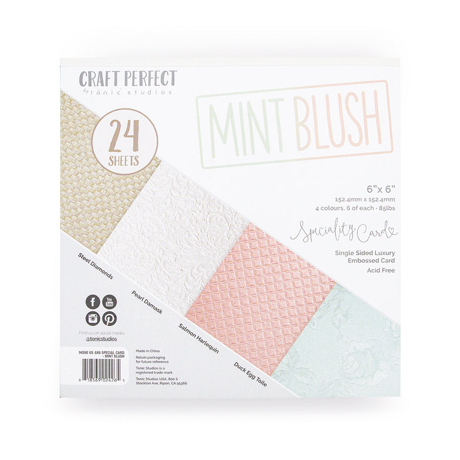 Tonic 6 x 6 Card pack - Mint Blush - 9426e
