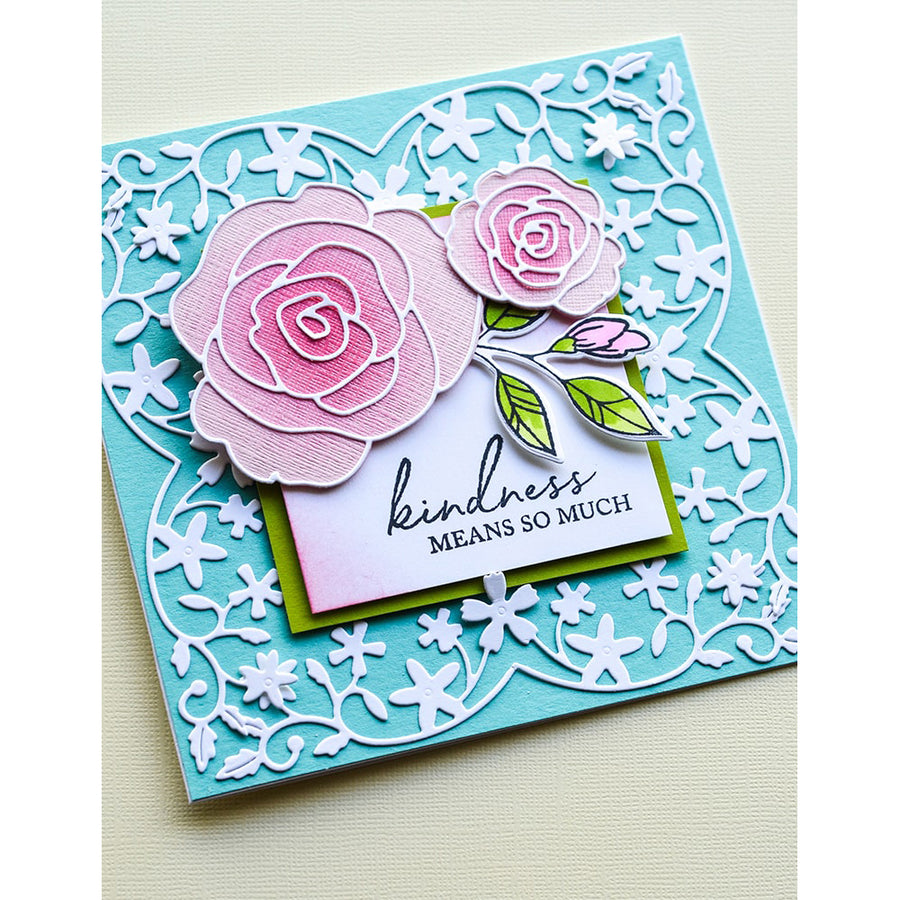 Memory Box Die - Graceful Rose and Background - 94451