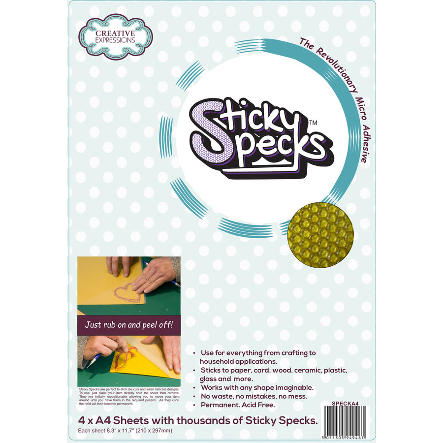 Creative Expressions Sticky Specks Micro Adhesive Sheets (4 x A4)