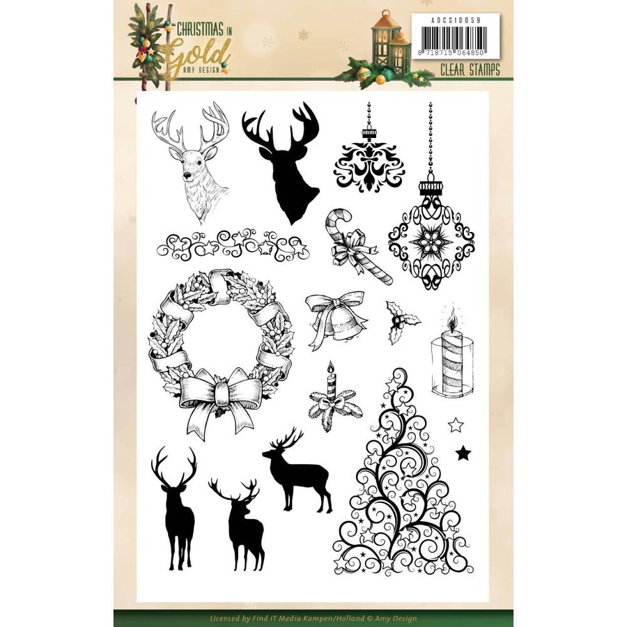 Amy Design - Christmas In Gold - Clear Stamp Images