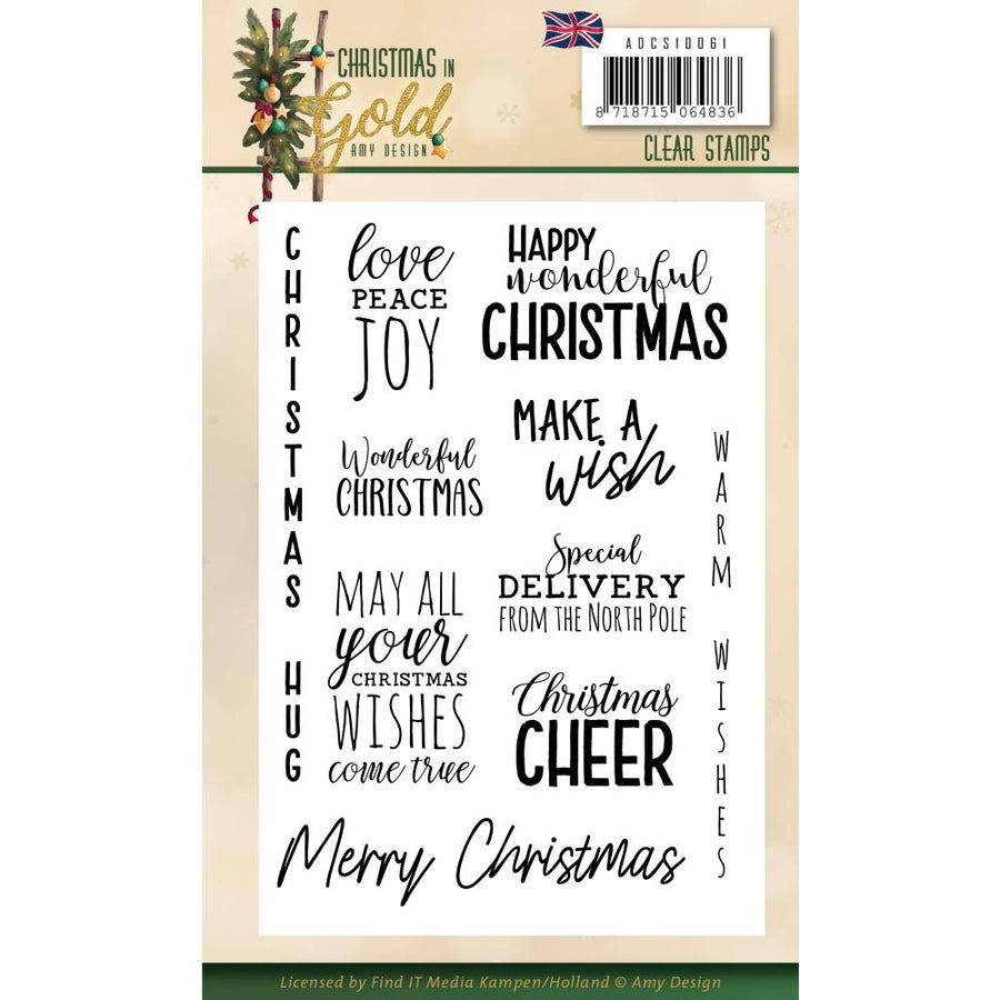 Amy Design - Christmas In Gold - Clear Stamp Text