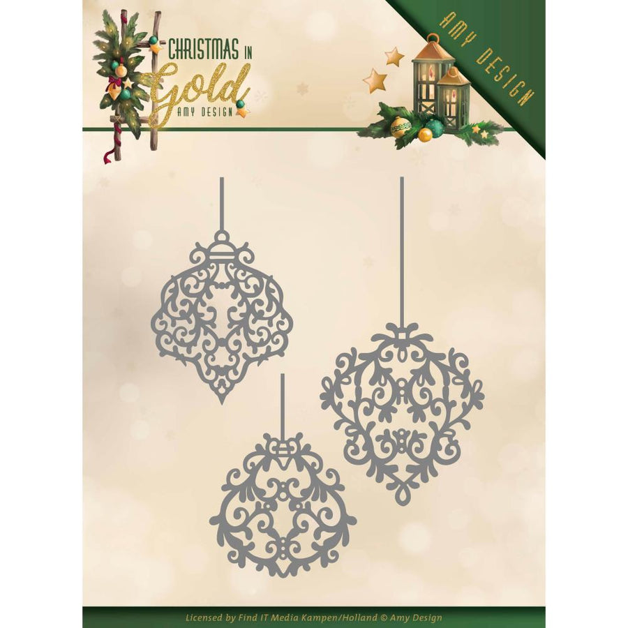Amy Design - Christmas In Gold - Cutting Die - Golden Ornaments