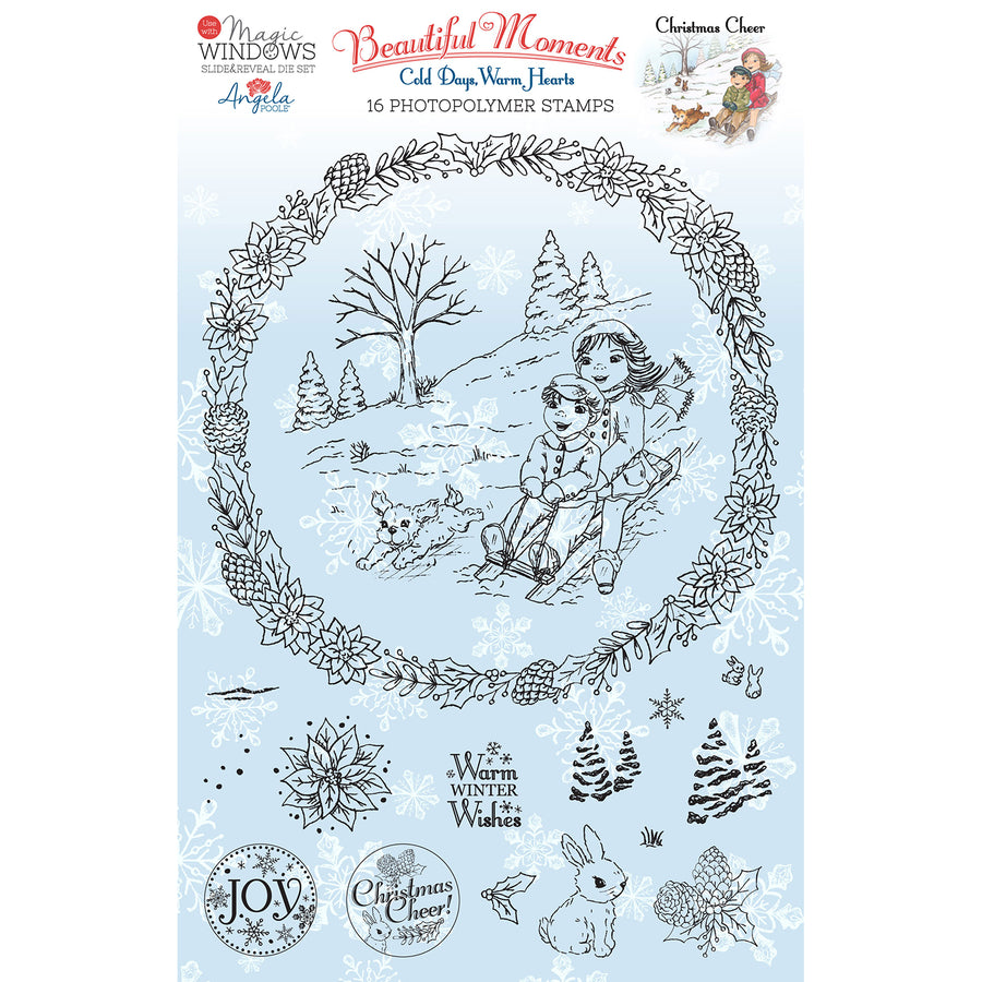 Angela Poole Photopolymer Stamp Set - Beautiful Moments Cold Days, Warm Hearts - Christmas Cheer