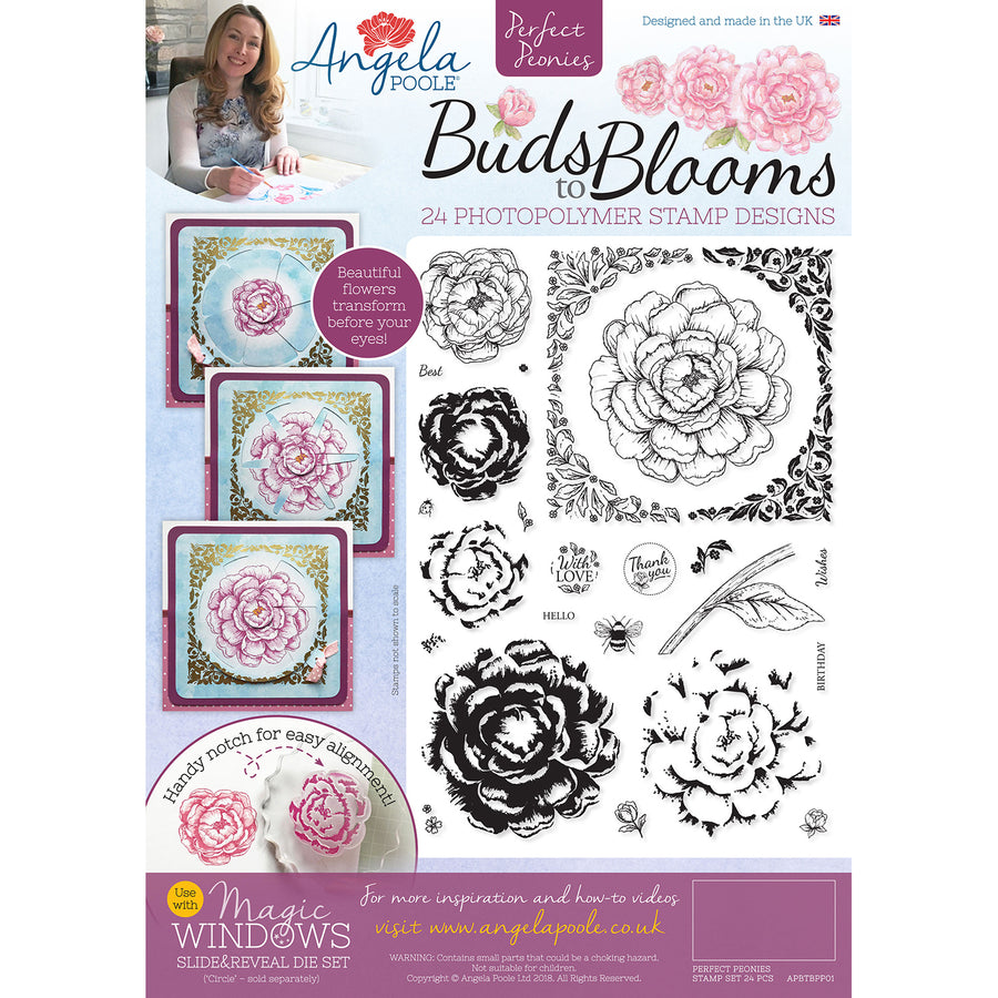 Angela Poole A4 Photopolymer Stamp Set - Buds to Blooms - Perfect Peonies