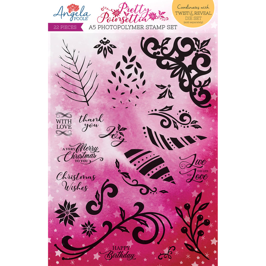 Angela Poole A5 Photopolymer Stamp Set - Pretty Poinsettia