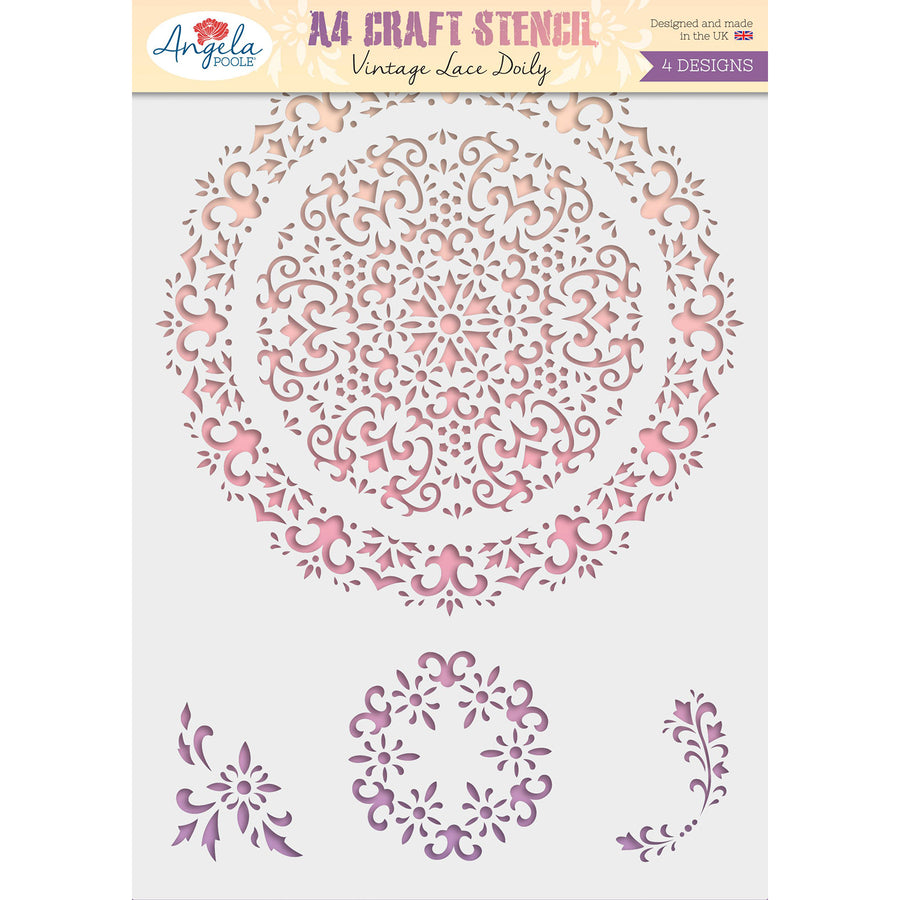 Angela Poole - Craft Stencil Vintage Lace Doily A4