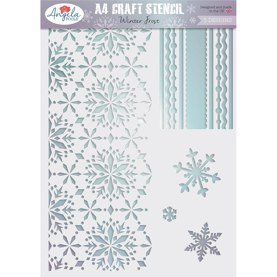 Angela Poole A4 Craft Stencil - Winter Frost