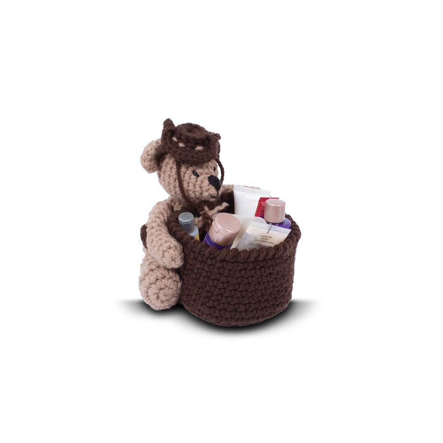 Knitty Critters Crochet Kit - Basket Buddies - Tyrone Teddy