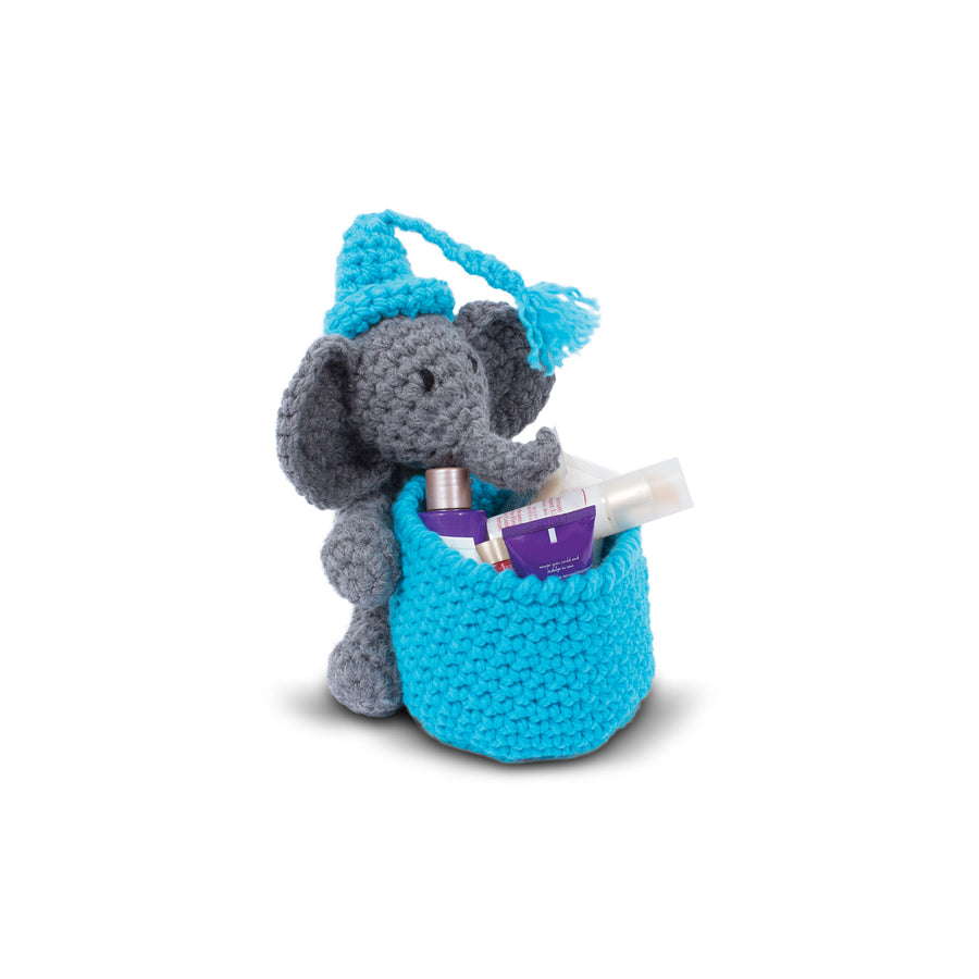 Knitty Critters Crochet Kit - Basket Buddies - Eli Elephant