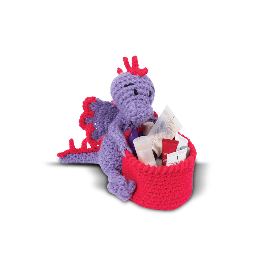 Knitty Critters Crochet Kit - Basket Buddies - Dakota Dragon