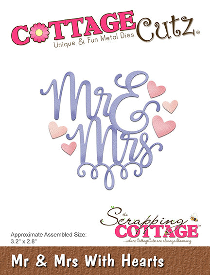 Cottage Cutz Die - Mr & Mrs With Hearts - CC-322