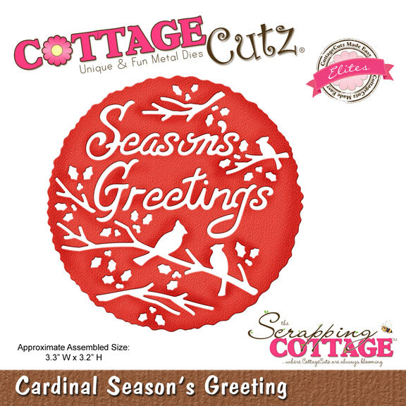 Cottage Cutz Die - Cardinal Season's Greeting - CCE-293