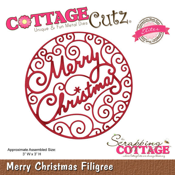 Cottage Cutz Die - Merry Christmas Filigree - CCE-346