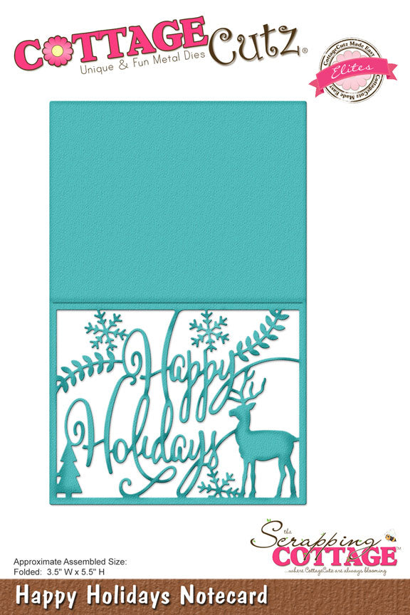 Cottage Cutz Elites Die - Happy Holidays Notecard - CCE-424