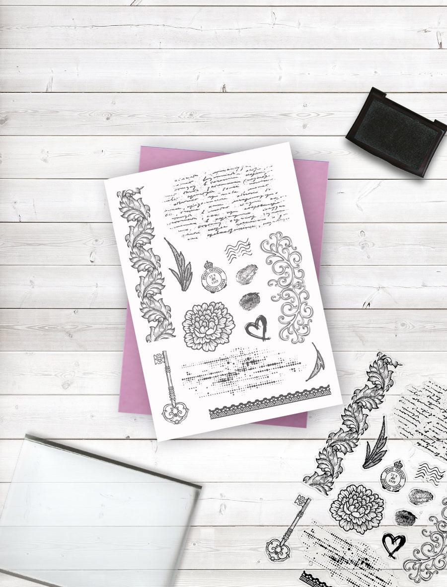 Crafters Companion - Clear Acrylic Stamp - Vintage Accents